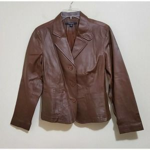 Chadwicks Leather Jacket Coat Button Front Pockets
